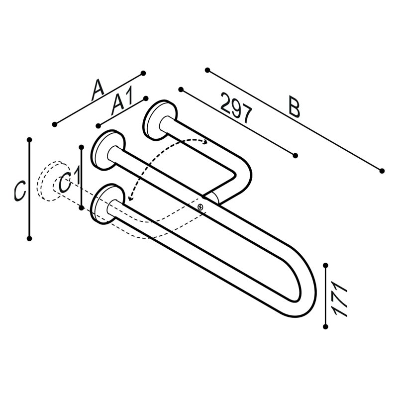 Draw Side fixed safety grab bar Technical Drawing G55JCS05