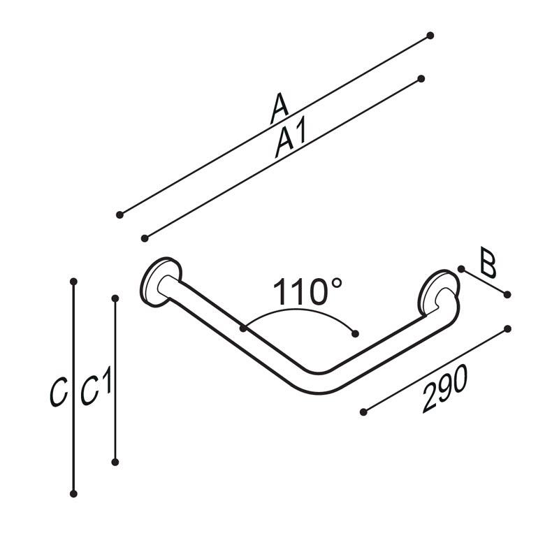 Draw Safety grab bar, corner, 110° Technical Drawing G55JAS15
