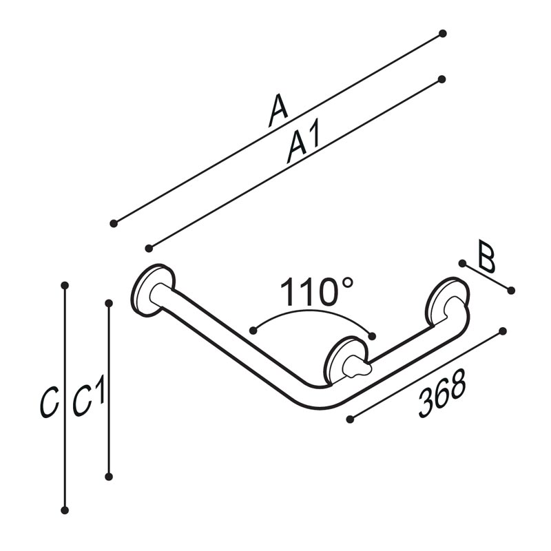 Draw 110° angled grab bar Technical Drawing G55JAS14