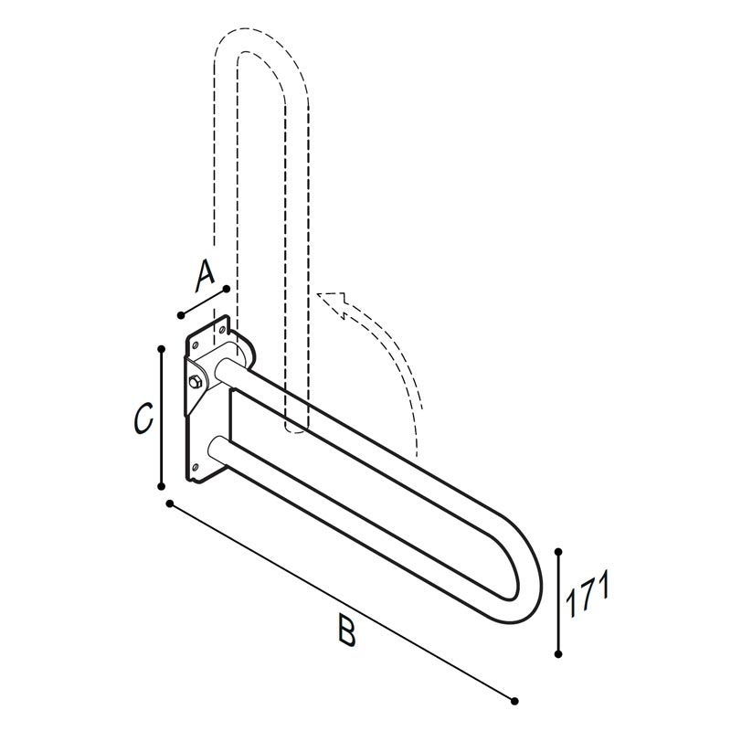 Draw Safety grab bar, folding Technical Drawing G55JCS09