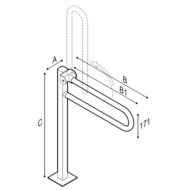 Draw Safety folding grab bar on floor mounted pedestal Technical Drawing G55JCS16