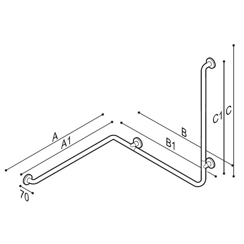 Draw Safety handrail for corner installation with vertical arm at one end Technical Drawing G55JBL06