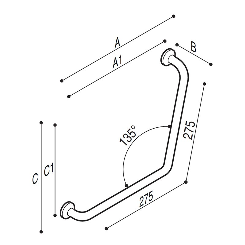Draw Safety corner grab rail 135° Technical Drawing G29JAS08