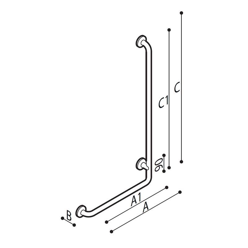 Draw Safety grab rail with 90° corner Technical Drawing G29JBR20