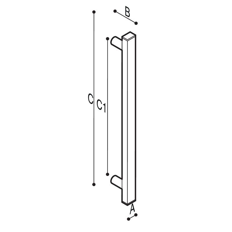 Disegno Maniglione di sicurezza lineare  Disegno Tecnico G18JAS07