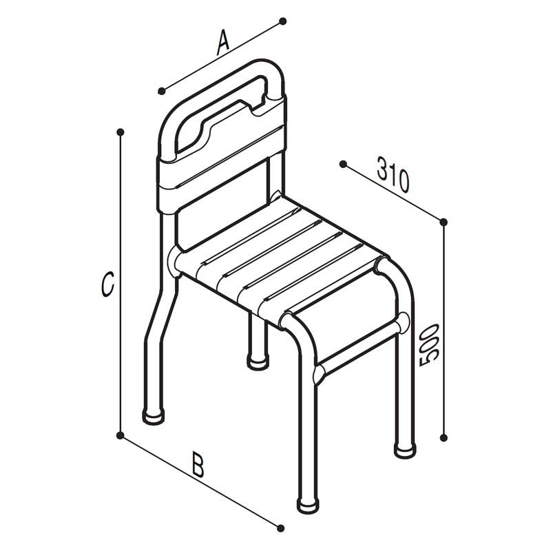 Disegno Seggilola con seduta e schienale a doghe Disegno Tecnico G01JDS59