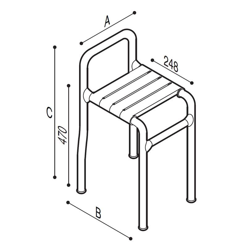 Disegno Sgabello con seduta a doghe Disegno Tecnico G03JDS36