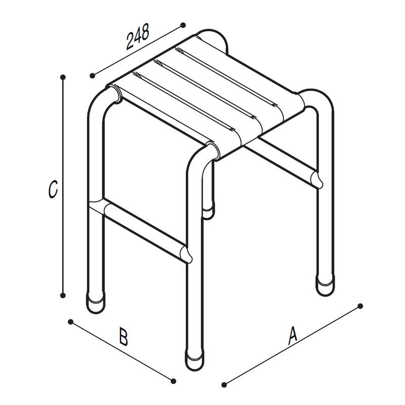 Disegno Sgabello con seduta a doghe Disegno Tecnico G01JDS60