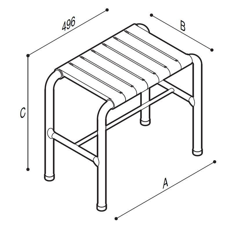Draw Shower stool Technical Drawing G01JDS61