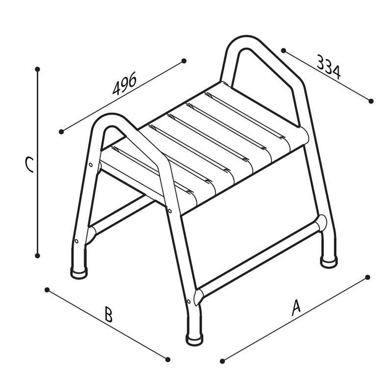 Disegno Sgabello con seduta a doghe, munito di maniglie  Disegno Tecnico G01JDS44