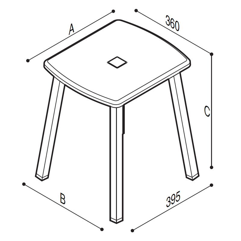 Draw Portable stylish shower stool Technical Drawing G27JDS30