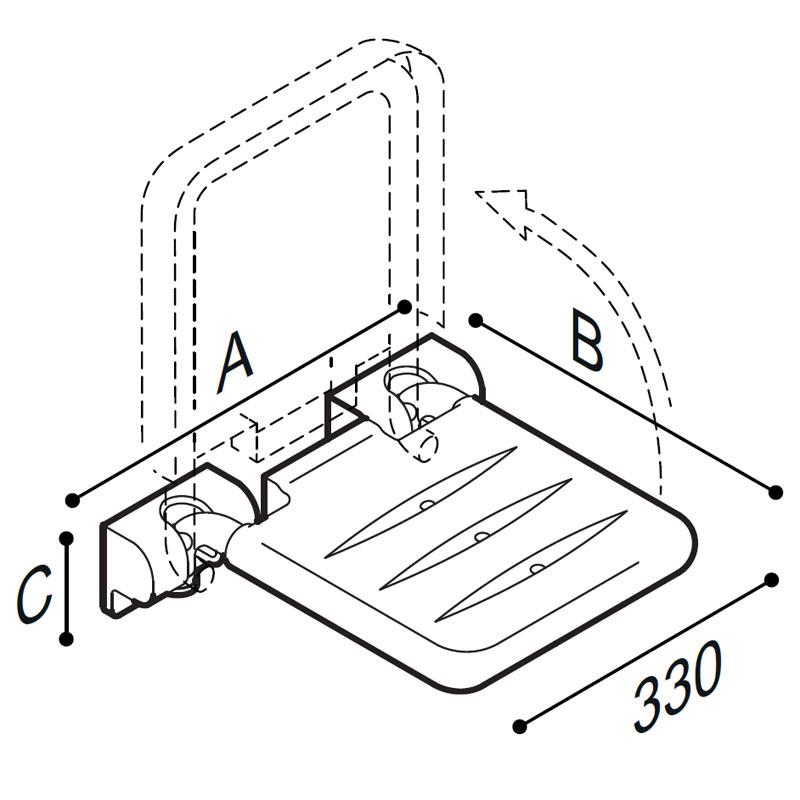 Disegno Sedile ribaltabile con seduta in ABS Disegno Tecnico G01JDS42