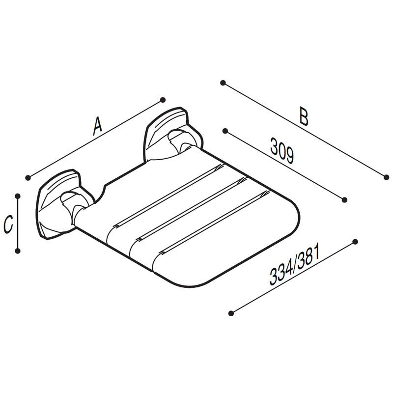 Disegno Sedile ribaltabile con seduta a doghe Disegno Tecnico G27JDS02