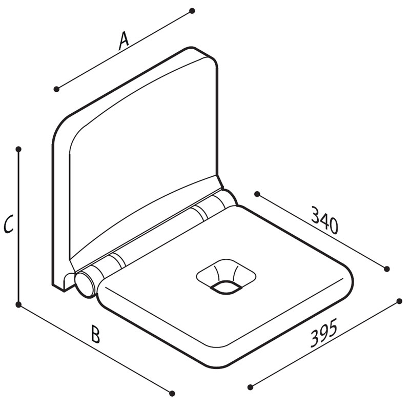 Draw Folding shower seat with integrated back rest Technical Drawing G12JDS19