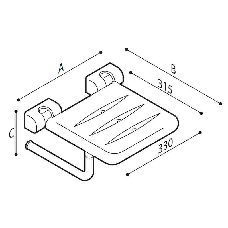 Draw Folding seat with white ABS base Technical Drawing G06JDS07