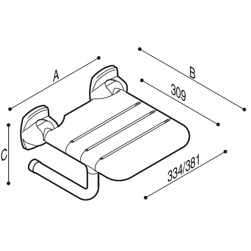 Disegno Sedile ribaltabile con seduta a doghe Disegno Tecnico G27JDS07