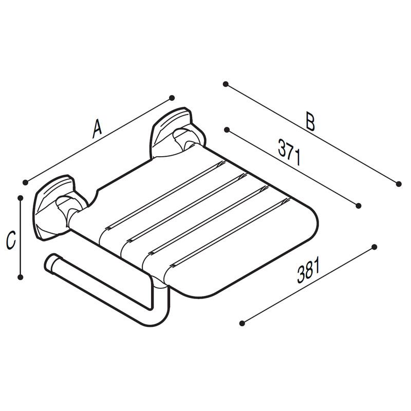 Disegno Sedile ribaltabile con seduta a doghe Disegno Tecnico G27JDS20
