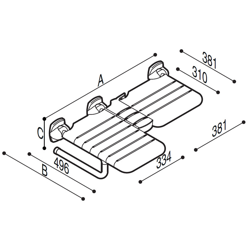 Draw Folding asymmetric double seat Technical Drawing G02JDL29