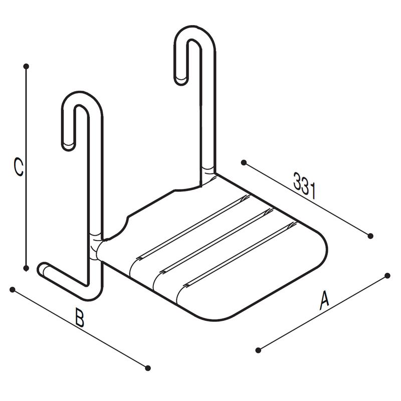 Disegno Sedile rimovibile con seduta a doghe Disegno Tecnico G01JDS50