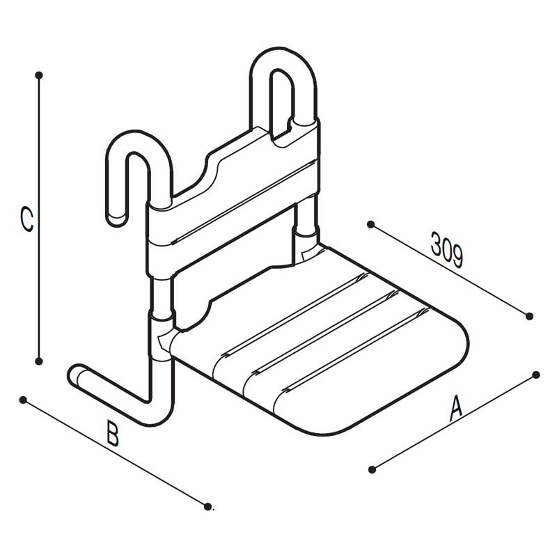 Disegno Sedile rimovibile con seduta e schienale a doghe Disegno Tecnico G01JDS17