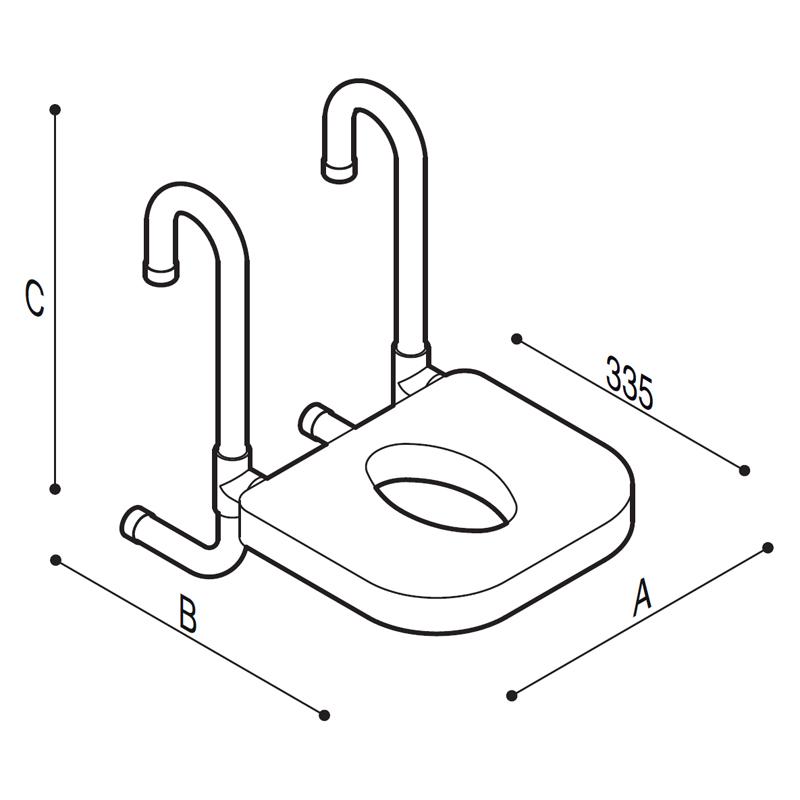 Disegno Sedile rimovibile munito di seduta in poliuretano Disegno Tecnico G40JDS35
