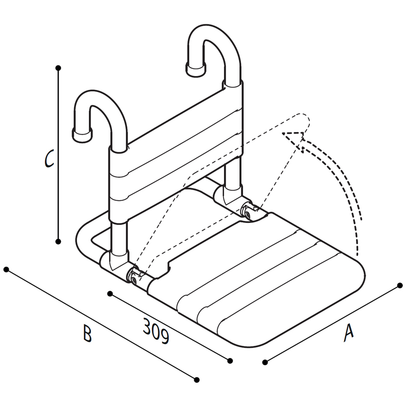 Draw Removable hanging and folding shower seat Technical Drawing G40JDS40