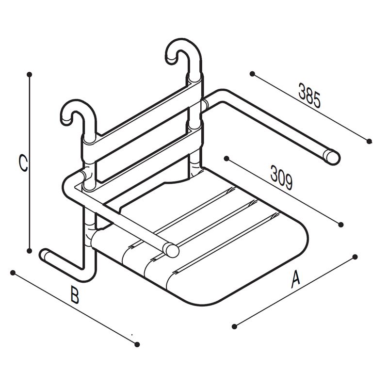 Disegno Sedile rimovibile con seduta e schienale a doghe, munito di braccioli ribaltabili Disegno Tecnico G01JDS16