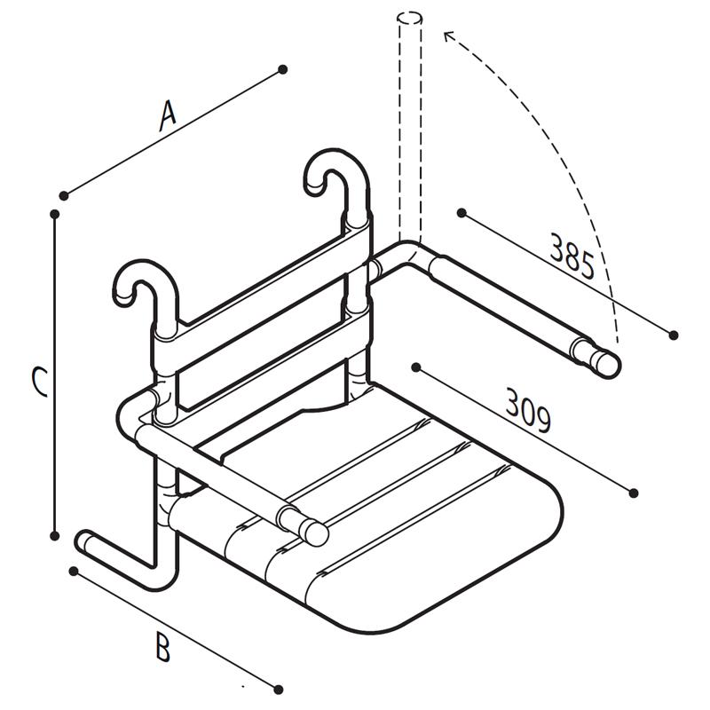 Disegno Sedile rimovibile con seduta e schienale a doghe, munito di braccioli ribaltabili completi di poggia braccia morbidi Disegno Tecnico G01JDS26
