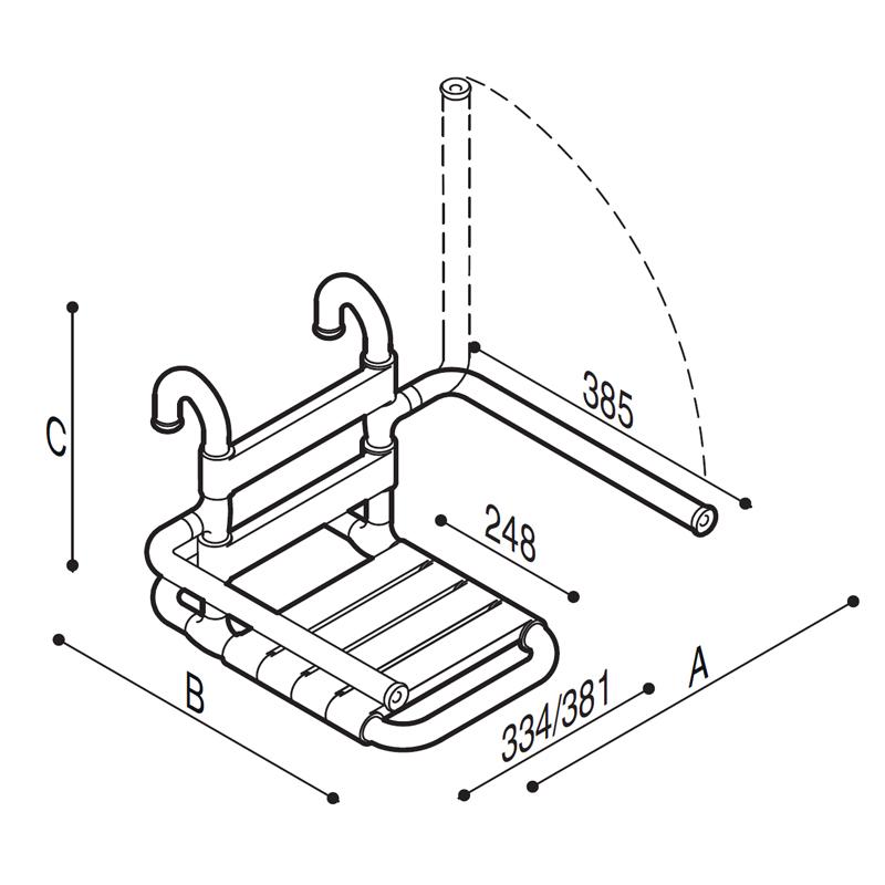 Disegno Sedile rimovibile con seduta e schienale a doghe, munito di braccioli ribaltabili Disegno Tecnico G03JDS16