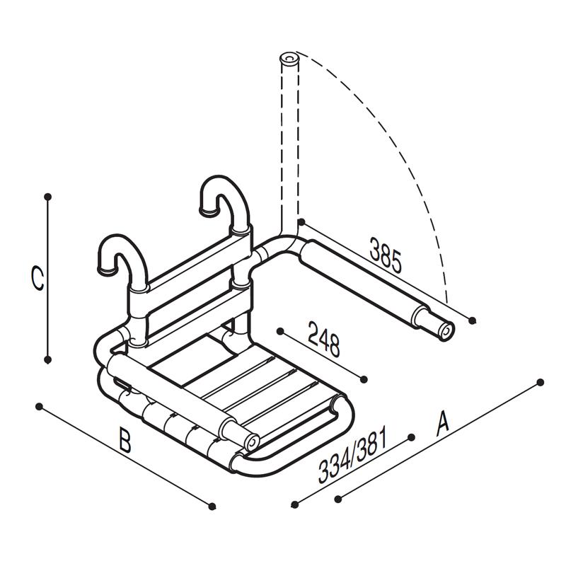 Disegno Sedile rimovibile con seduta e schienale a doghe, munito di braccioli ribaltabili completi di poggia-braccia morbidi Disegno Tecnico G03JDS26