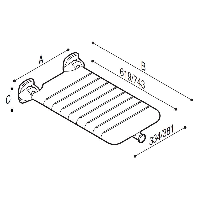 Disegno Sedile ribaltabile, per vasca, con seduta a doghe Disegno Tecnico G01JDS37