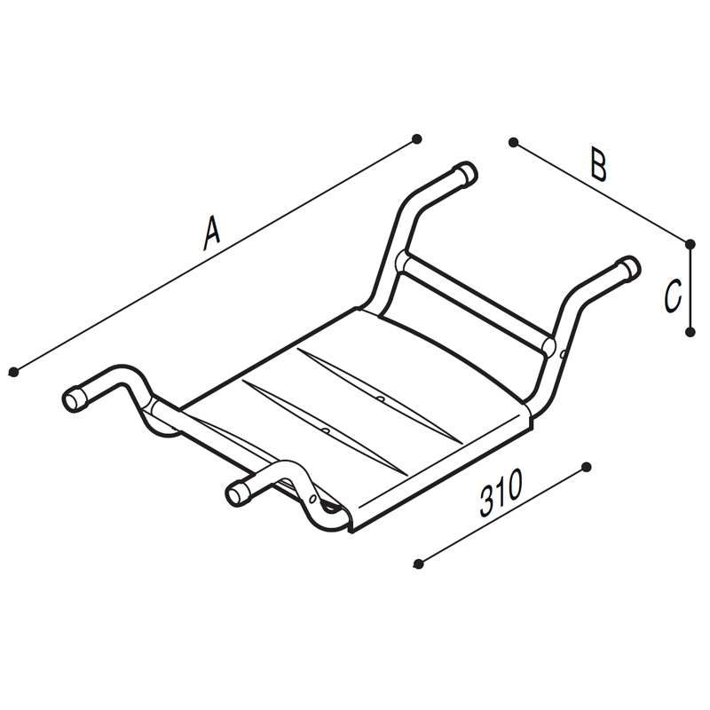 Draw Bath tub seat, removable Technical Drawing G24JDS28