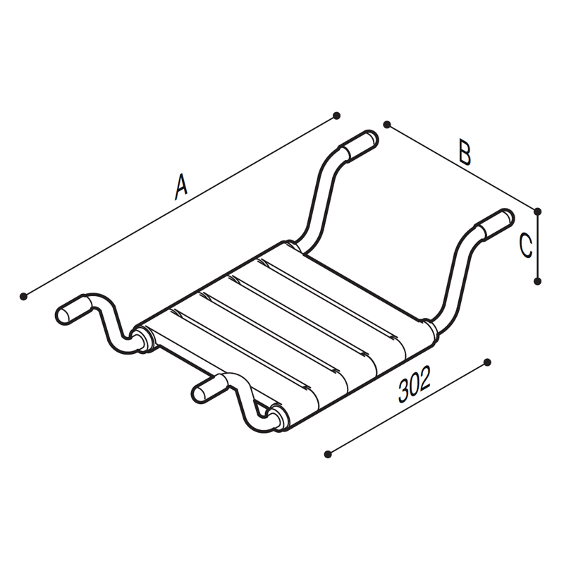 Draw Bathtub seat, removable, slat Technical Drawing G01JDS29