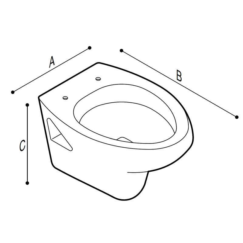 Draw WC with front opening, hung Technical Drawing B40CAO02