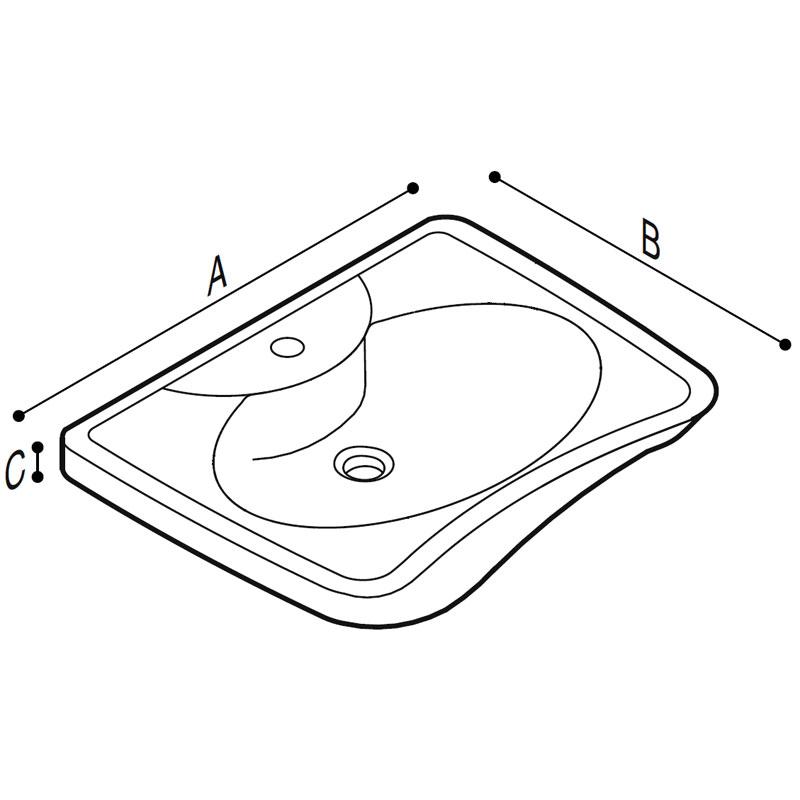 Disegno Lavabo ergonomico con poggia gomiti Disegno Tecnico B40CMS02