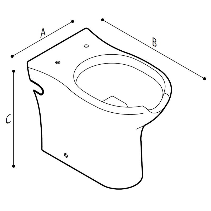 Disegno Vaso sanitario, con apertura frontale, a pavimento Disegno Tecnico B42CBO01