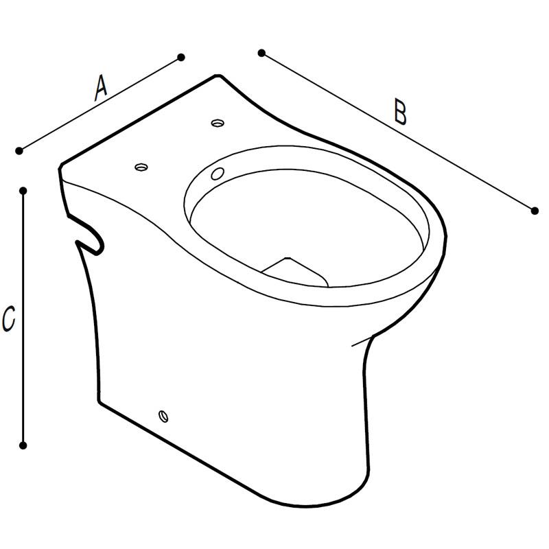Disegno Vaso sanitario - bidet, a pavimento Disegno Tecnico B42CGC01
