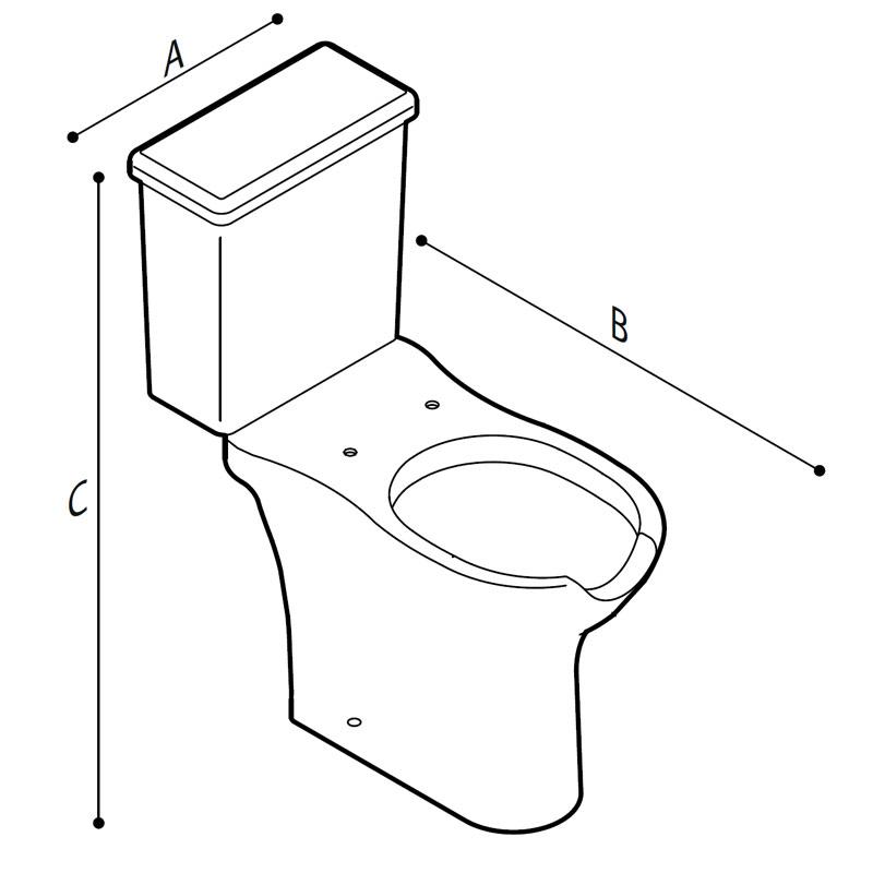 Disegno Vaso WC - bidet monoblocco, con apertura frontale, a pavimento Disegno Tecnico B42CTO01