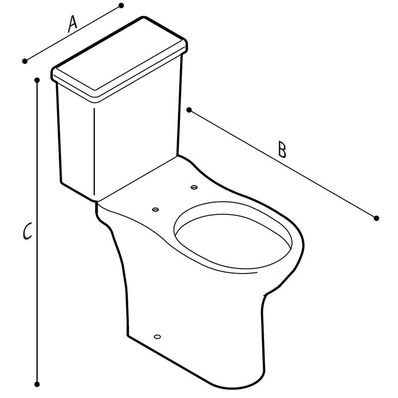 Disegno Vaso sanitario monoblocco a pavimento Disegno Tecnico B42CDC01