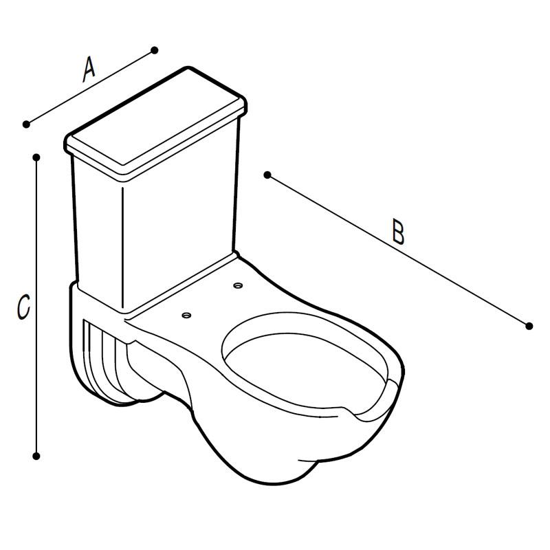 Disegno Vaso WC - bidet monoblocco, con apertura frontale, a pavimento Disegno Tecnico B42CSO01