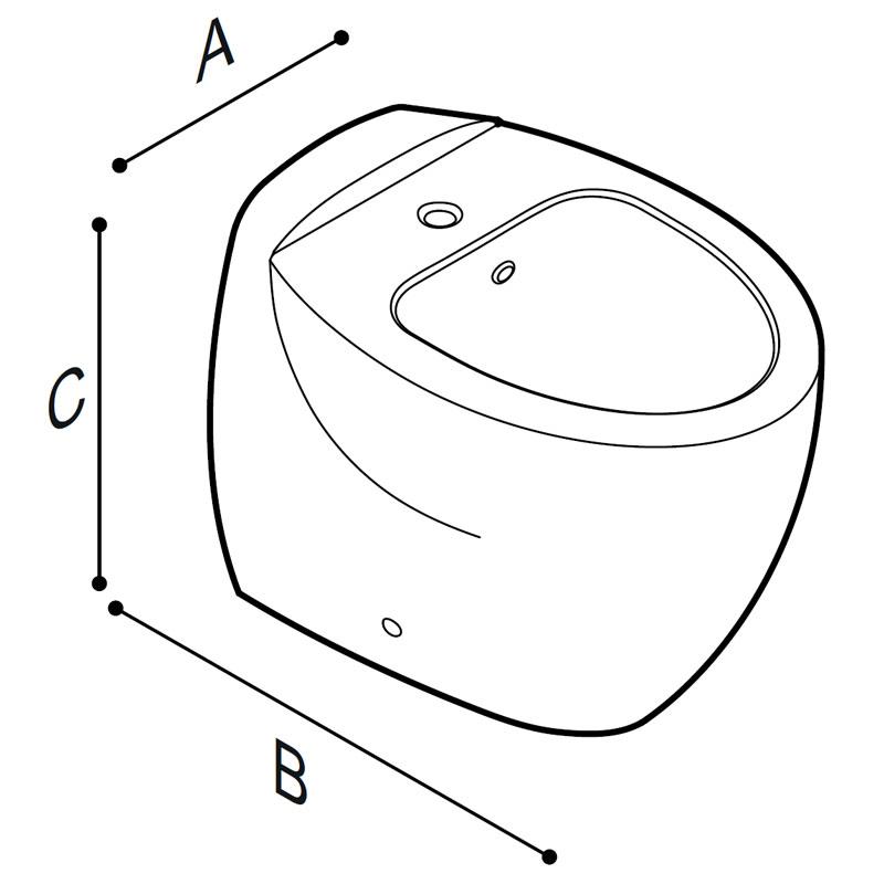 Disegno Bidet a pavimento Disegno Tecnico B43CIC01