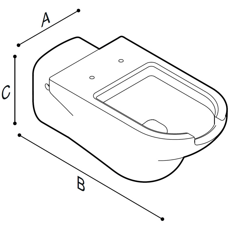 Draw Hanging WC-bowl with lengthened bowl having front opening Technical Drawing B43CAO01