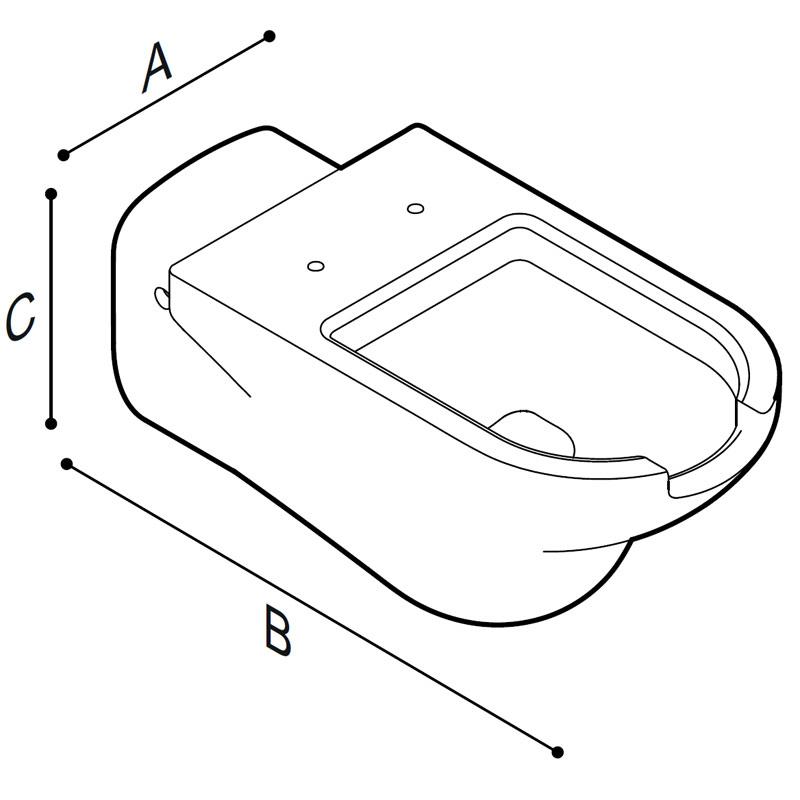 Disegno Vaso sanitario monoblocco, con apertura frontale, sospeso Disegno Tecnico B43CAO01