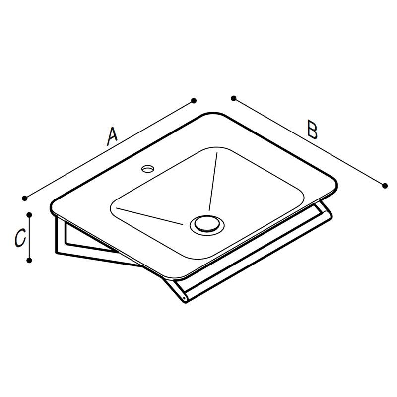 Draw Ergonomic designed wash basin Technical Drawing B46CMM16