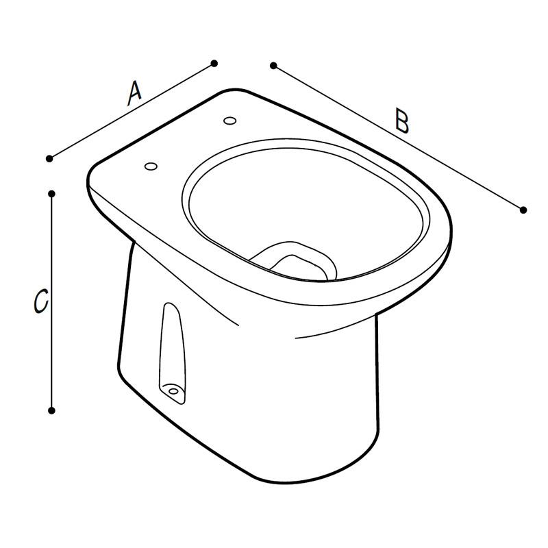 Disegno Vaso sanitario - bidet, a pavimento, Scarico parete e a pavimento Disegno Tecnico B41CGS03