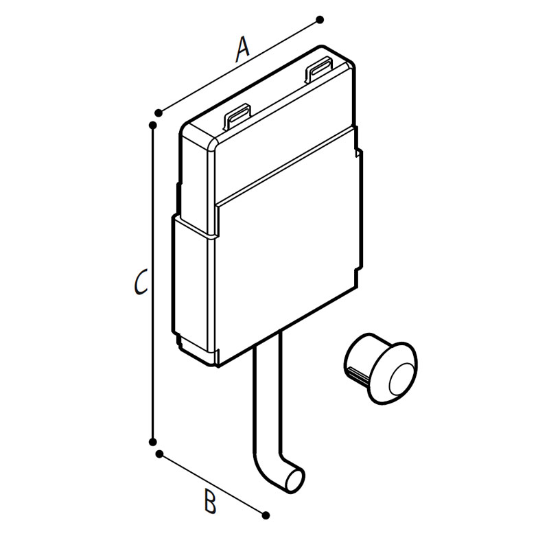Disegno Cassetta di scarico da incasso pneumatica Disegno Tecnico H52HHS01