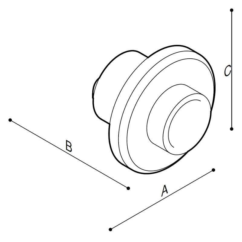 Disegno Pulsante da incasso a parete, libera posizione, comando facilitato Disegno Tecnico H52HGS06