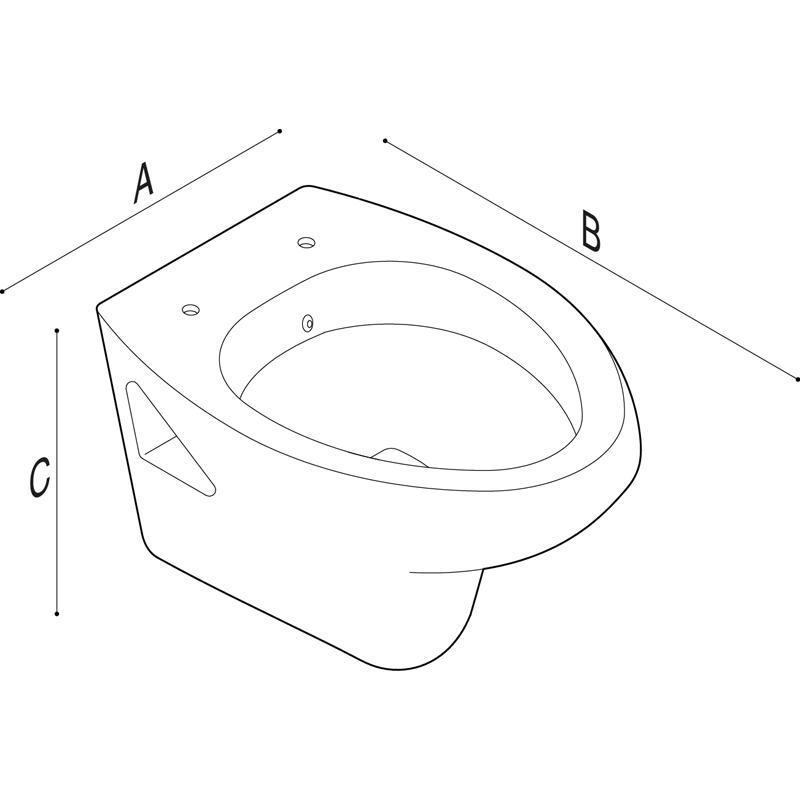 Disegno Vaso - bidet sospeso con apertura frontale Disegno Tecnico B40CFO02