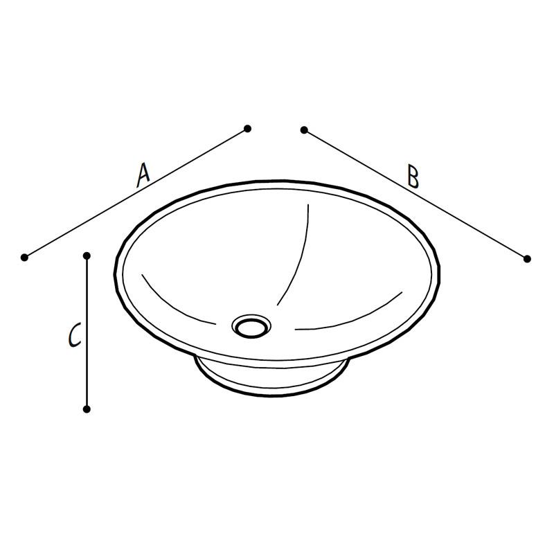 Disegno Lavabo sospeso o da appoggio Disegno Tecnico R40CUS03