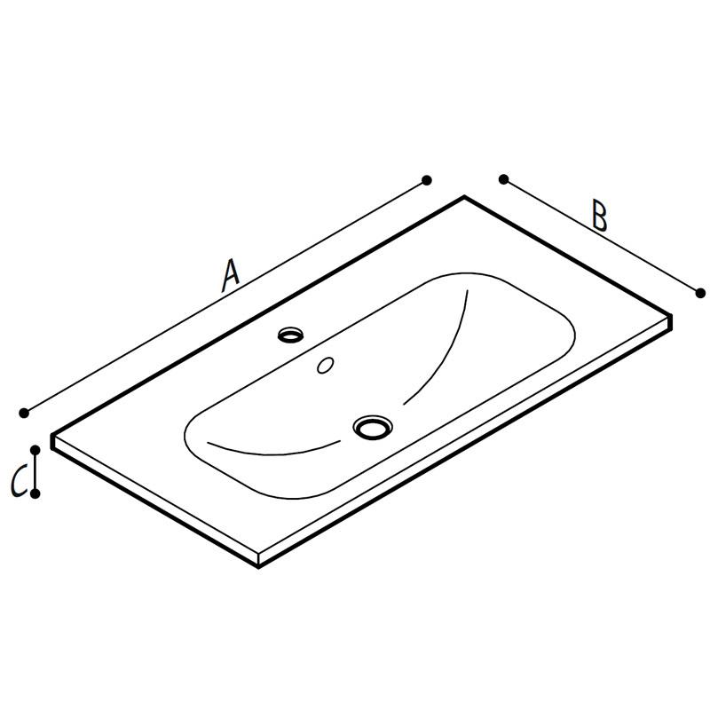 Disegno Lavabo sospeso o da incasso Disegno Tecnico R40CNS01